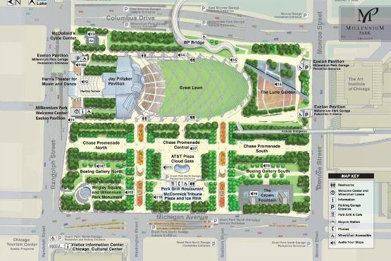 Mapa del Parque del Milenio Chicago