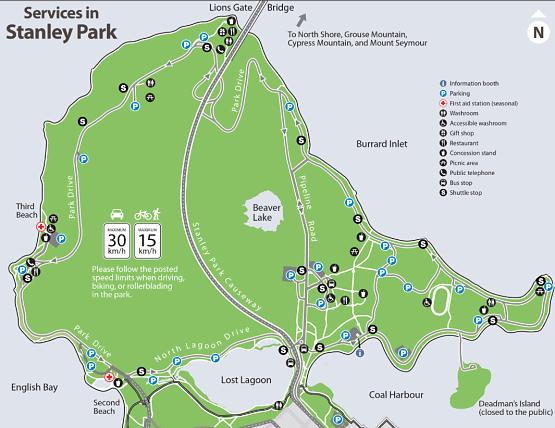 Mapa parque Stanley Vancouver