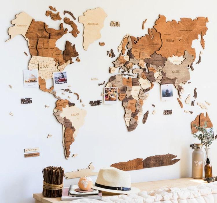Mapamundi madera regalo viajero